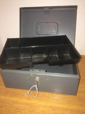 Vintage Steelmaster Cash Box W/ Key & Tray Art Steel USA Gray Metal Locking