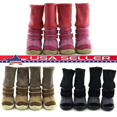 US Pet Dog Winter Warm Snow Boots Puppy Anti-slip Cotton Shoes Sneakers Booties