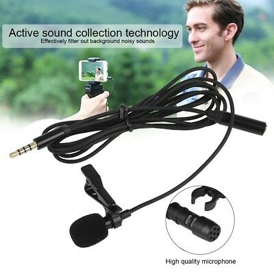3.5mm Mini Clip-on Lapel Lavalier Mic Microphone For Mobile Phone PC Recording