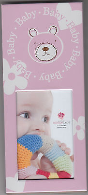 """Baby Picture Frame with Bear Design by Fashion Craft, Pink, 2.5"""" x 5.75"""", New"""