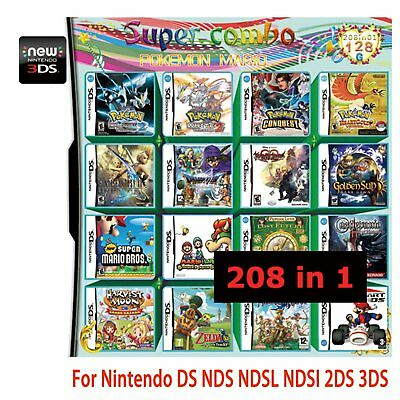 For Nintendo NDS NDSL NDSI 2DS 3DS Video Game 208 in 1 Games Cartridge Multicart