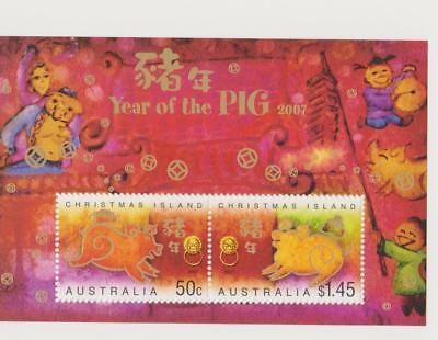 Stamps Australia Christmas Island 2007 Year Of The Pig Mini Sheet Gold Foil