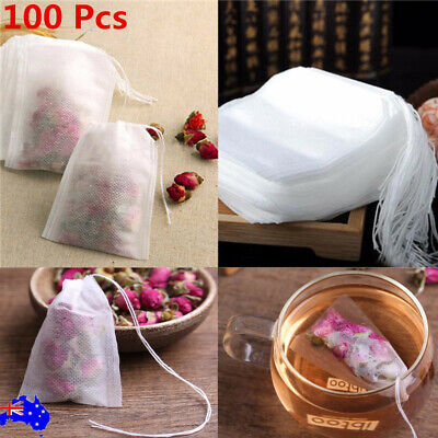 100pcs Empty Teabags String Heat Seal Filter Disposable Tea Bags 6*8/7*9cm