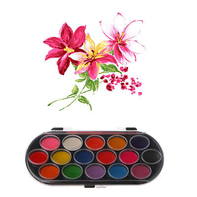 16 Colors Watercolor Palette Brush Set Painting Tray Drawing Art Mini Kid Gift