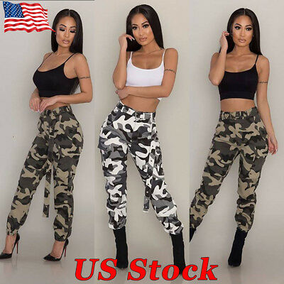 1cdd16d8029c6 Military Army Jeans Women Camo Cargo Trousers Casual Pants Combat Camouflage  New