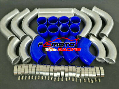 "2.25"" 57mm Aluminum Intercooler Turbo Piping pipe 12PCS + red hose kit + clamps"