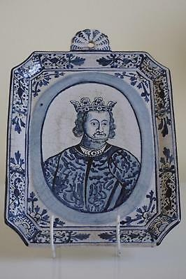 Interesting Delft Wall Plaque - Royal Interest - Late 19th / Early 20th Century