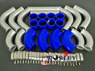 "76mm 3"" Aluminum Universal Turbo Intercooler Piping + Couplers + BLUE hose pipe"