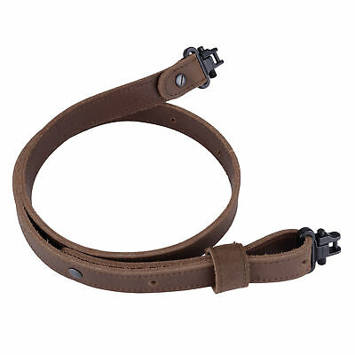 Buffalo Leather Rifle Gun Sling with Mil-Spec Swivels Crazy Horse Brown Stitch