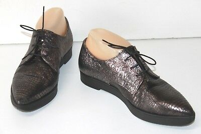 TEXTO Derby shoes Woman Leather Cracked Silver Double T 37 VERY GOOD CONDITION
