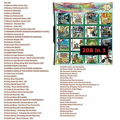 208 in 1 Game Cartridge Multicart for Nintendo DS NDS NDSL NDSi 3DS 2DS LL/XL