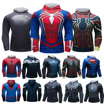 Mens Superman Hoodie Print Sweaters Hooded with Pockets Cosplay Top Holiday Gift