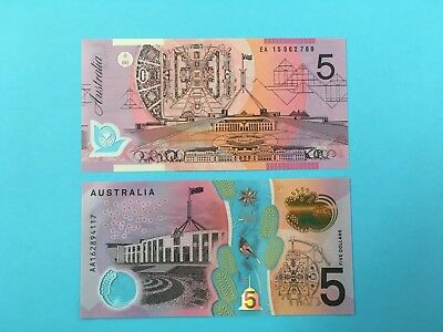 $5 Banknote Last Prefix EA15 and First Prefix AA16 in RBA Folder UNC *RARE*