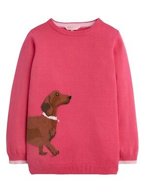 Joules Girls Meryl Intarsia Jumper - Ages 5 - 12 - Colours Deep Pink - Dalmation
