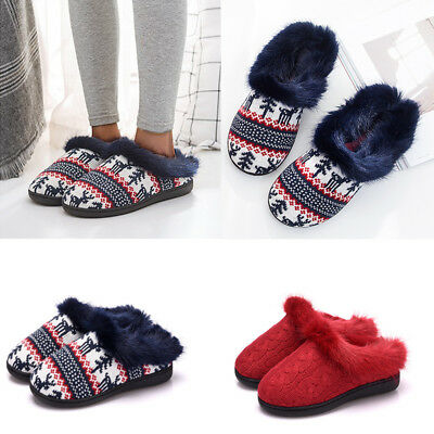 Ladies Women Soft Warm Home Slipper House Indoor Shoes Christmas Xmas Flats Gift