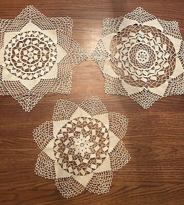 "3 Antique Crocheted Doilies LOT Ecru Vintage Centerpiece Doily 16"" 14"" Round C1"