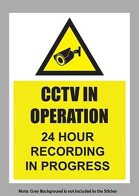 CCTV in Operation Warning Sign / Stickers Self Adhesive Vinyl Stickers - M1037