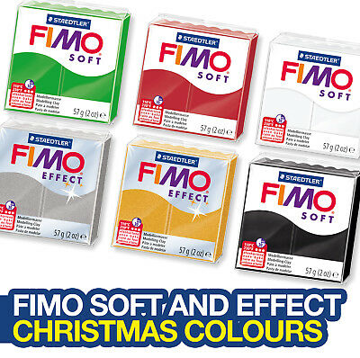 Fimo Christmas Colours Soft And Effect Polymer Clay Pack Of 6