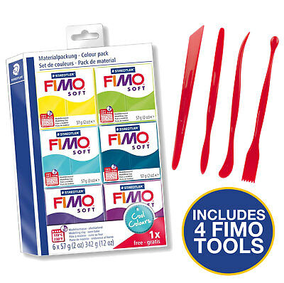 Fimo Starter Kit 6 Colours And Tool Set - Cool Colours Set