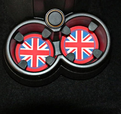 x2 GREAT BRITAIN FLAG Non Slip Cup Holder UK Mat 72mm Mini Cooper R57 R58 R59