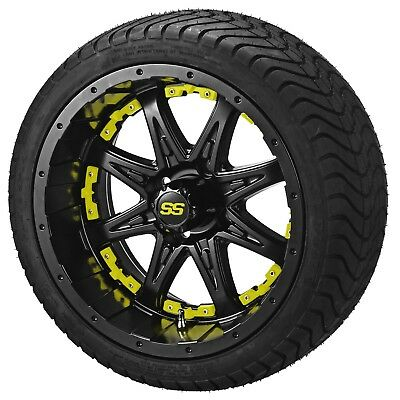"4 Golf Cart 205/30-14 Tire on 14"" Matte Black Revenge Wheel W/Yellow Inserts"