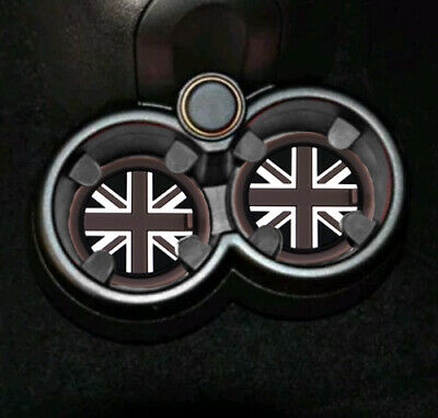 x2 GREAT BRITAIN FLAG GREY I Love Cup Holder Mat 72mm Mini Cooper R55 R56 R57