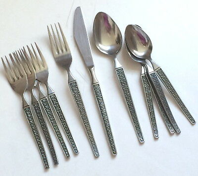 VINTAGE XANADU 5pc Place Setting Extra Forks, Spoons Ekco Stainless Flatware