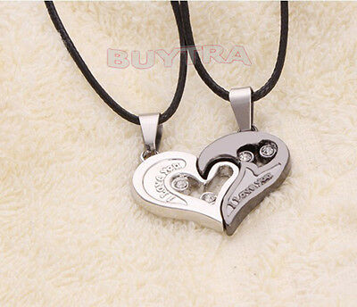 His and Hers Stainless Steel I Love You Heart Men Women Couple Necklace JH
