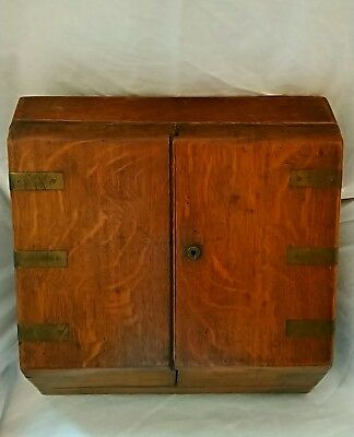 Victorian Oak Stationary Box By Parkins & Gotto London / Antique Wooden Cabinet
