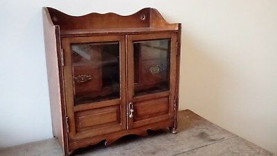 Antique Oak Wall / Table Top Mounted Smokers Cabinet With Bevelled Glazed Doors.