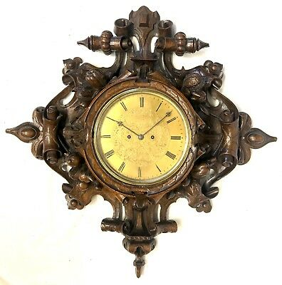 Antique Double Twin Fusee Black Forest Carved Wall Clock Thompson Profaze London