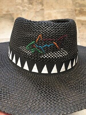 Greg Norman Collection Branded Straw Hat Vented One Size - Black a44745430a97