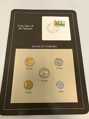 1977 5 PC Coin Sets of All Nations Socialist Ethiopia Stamped Page Free Shipping