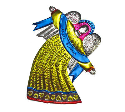 Handcrafted, TIN ANGEL WALL ART (Yellow Gown) - 14-inch, Gleaming Heavenly Decor