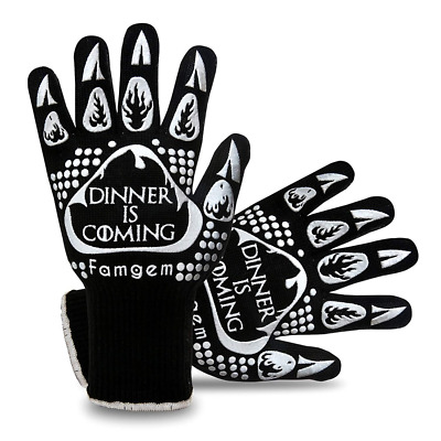 Grill Gloves Oven Mitts Kitchen 932F Cooking Heat Resistant BBQ Baking 1Pair New