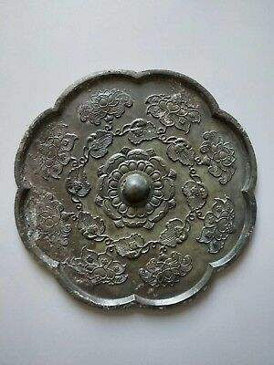 China Ancient Tang Kingdom Old Bronze Mirror Beautiful Lotus Flower Pattern Rare