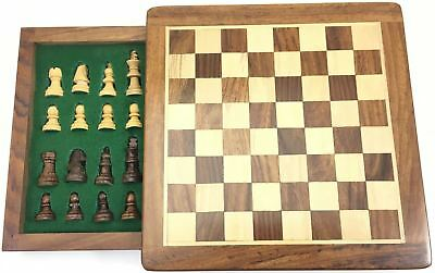 Square Wooden Chess Magnetic Box Single Push Drawer Game Gift Board Players Play