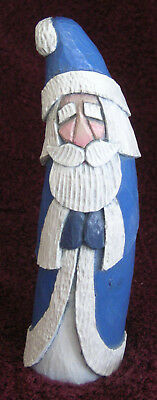 A. Penny Santa Medium Blue Hand Carved Painted 2008