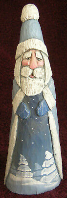 A. Penny Santa Light Blue Hand Carved Painted 2009