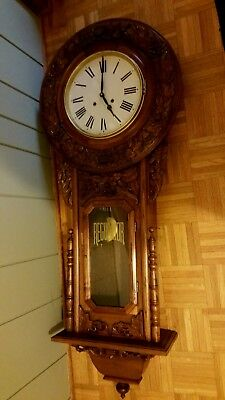 ANTIQUE BIG CARVED WALL REGULATOR CLOCK Untested for Decoration / Project??