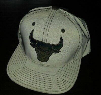 Mitchell Ness Chicago Bulls WHITE / Metallic Silver Adjustable Fit Hat Cap