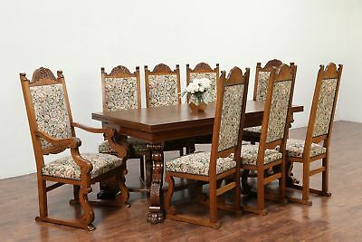 Oak Scandinavian Antique Dining Set, 10' Table, 8 Chairs Carved Lion Paws #30030