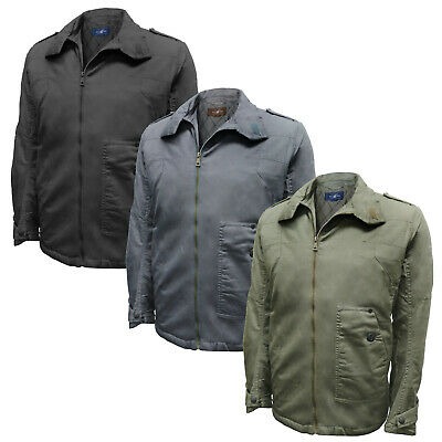 Mens High Neck Diamond Quilted Combat Jacket Olive Coat ZipUp Vintage Army M-2XL