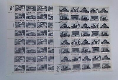 Lot of 2 Mint Sheets Of 40 Stamps, Architecture USA, 18c #1928-31 & 20c #2019-22