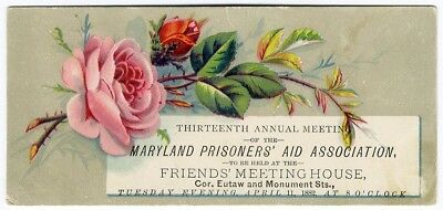 Maryland PRISONERS AID Assoc Victorian Trade Card 1882 Annual Meeting Baltimore