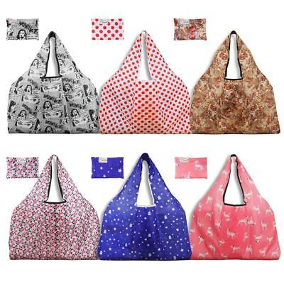 Thicken 300D Nylon Reusable Grocery Bags 6 Pack Holotap Extra Large Folding Shop
