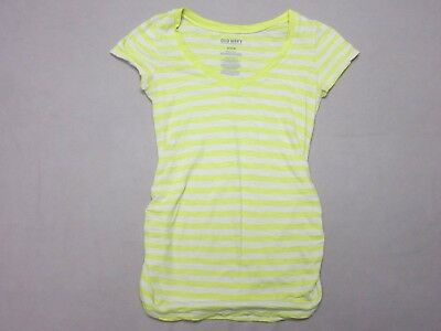 Old Navy Maternity Womens Yellow & White Striped Cotton V Neck T Shirt Size Xs