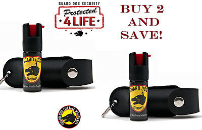 2 PACK Guard Dog 1/2oz 18% Pepper Spray With UV Dye - BLACK Leather Keychain