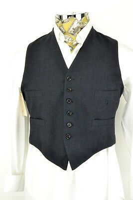"""Size 42"""" Blue Red Striped Waistcoat Wool Front Vintage"""