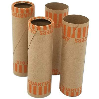 Burst Resistant Preformed Quarter Coin Roll Wrappers, 60-Count Heavy Duty